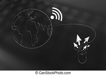 planet earth with wi-fi symbol attached to computer mouse clicking around
