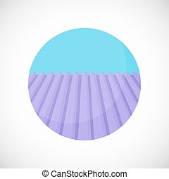 Lavender field vector flat icon, Flat design of nature,...