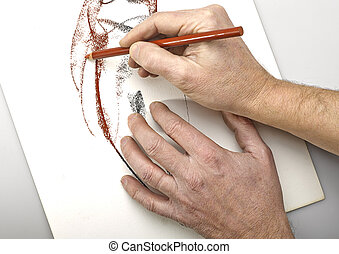 Artist Hands drawing abstract women silhouette