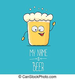 vector cartoon funky beer glass character on blue