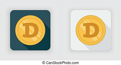 Light and dark Dogecoin crypto currency icon - Light and...