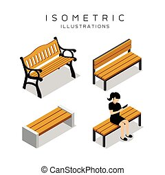 Isometric wooden bench collection with women shirt black...