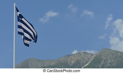 Greece Flag and Mountains - Greece flag waving in wind and...