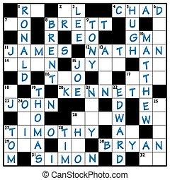 Popular Male Names Crossword - Popular male names written in...