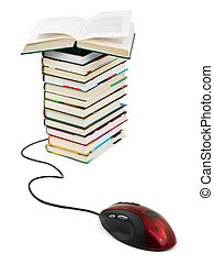 Computer mouse and books