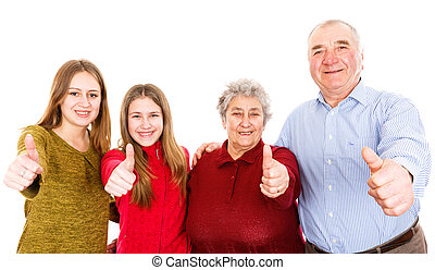 Happy grandparents and granddaughters - Photo of happy...