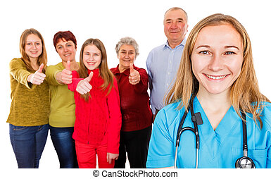 Happy family and young doctor - Photo of happy family...