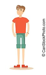 handsome man in shorts. Isolated over white background....