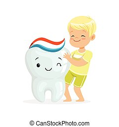 Happy blonde boy standing next to a big smiling tooth, cute cartoon characters vector Illustration