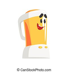 Funny kitchen blender character with smiling face, humanized home electrical equipment vector Illustration