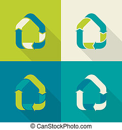eco house - logo variants of house recycling