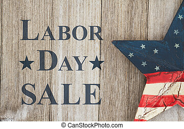Labor Day sale message, USA patriotic old star on a...