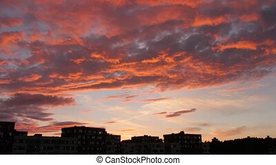 evening sky with dramatic sunset clouds