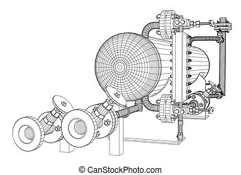 Wire-frame industrial equipment. EPS 10 vector format....