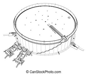 Wire-frame oil tank. EPS 10 vector format. Vector rendering...