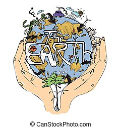 Ecology concept poster. Globe in hands. Symbol of caring about the environment. Vector illustration, isolated on white.