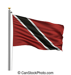 Flag of Trinidad and Tobago with flag pole waving in the...