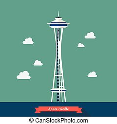 Space Needle. Observation tower in Seattle. Vector illustration