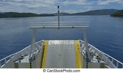 Large Ferry-boat Cruising on Seas - Bow and superiror deck...