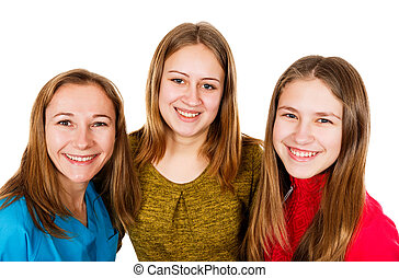Happy young sisters - Portrait photo of happy young sisters...