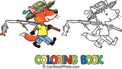 Little funny fox go fishing. Coloring book - Coloring book...