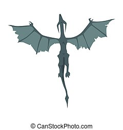 Flying dragon wyvern, mythical and fantastic animal vector...