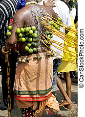 Hindu Devotee at Thaipusam Celebration - Hindu devotee with...