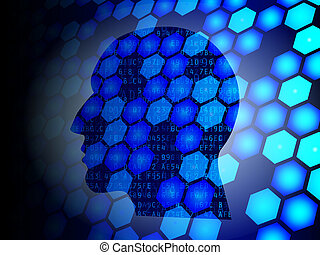 Hex Head - Head silhouette against hexagons and hexadecimal...