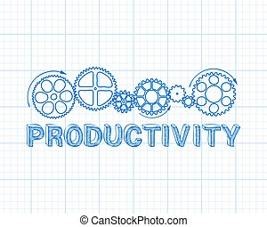 Productivity Banner - Hand drawn productivity and gear...