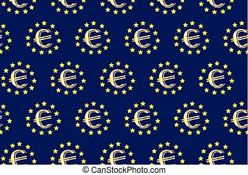 Golden euro on blue background