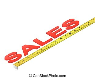 Sales Tape Measure - Tape measure measuring sales word