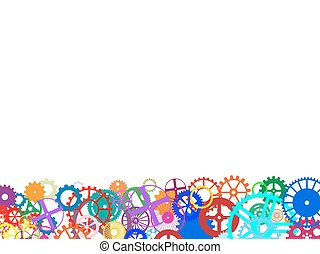 Gears Frame - Gears and wheels. Artistic multicolored...