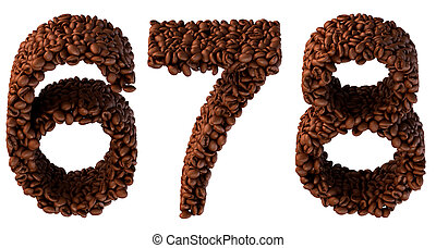 Roasted Coffee font 6 7 8 numerals isolated over white