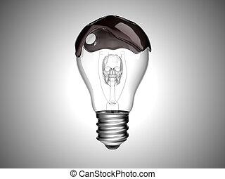 Oil spill disaster. Bulb with skull inside