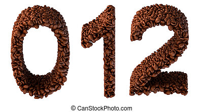 Roasted Coffee font 0 1 2 numerals isolated over white