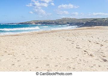 Pessegueiro Beach and cliffs in Porto Covo, Alentejo,...