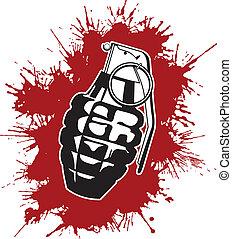 Grenade with splattered blood