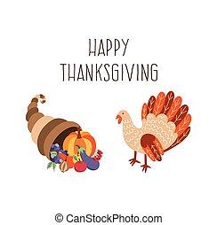 Vector set of thanksgiving turkey, horn of plenty - Vector...