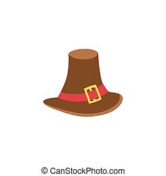 Vector pilgrim hat flat illustration isolated on a white...
