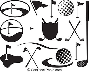 Black and White Golf Icons