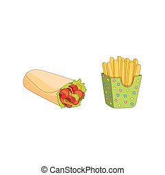 Vector shawarma roll potato fry set isolated.