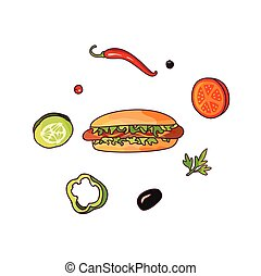 Vector flying food ingredients and hot dog set - Vector...
