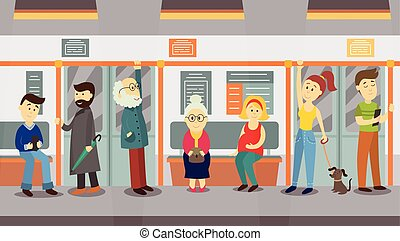 People in subway train car, sitting, standing and holding...