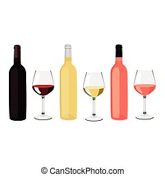 Bottles and glasses - Vector illustration bottles of wine...