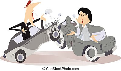 Road accident, young man and woman