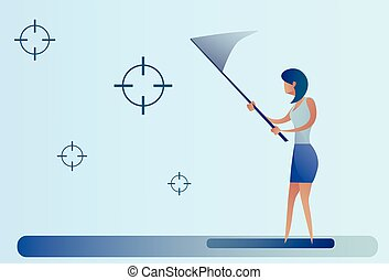 Abstract Business Woman Catch Targets With Butterfly Net Aim...