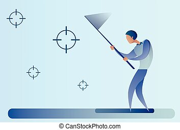 Abstract Business Man Catch Targets With Butterfly Net Aim...