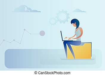 Abstract Business Woman Sitting On Data Folder Working Laptop Computer