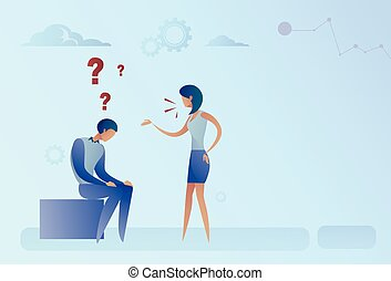 Business Man And Woman With Question Mark Pondering Problem...