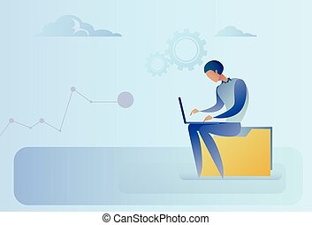 Abstract Business Man Sitting On Data Folder Working Laptop Computer
